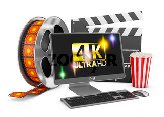4K Modern computer, popcorn and film strip