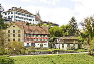 Haldenmühle und Schloss Andelfingen, Kanton Zürich, Schweiz