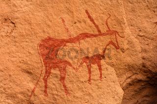 Prähistorische Felsmalereien in der Sahara