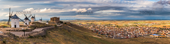 Stitched panorama of legendary windmills in Consuegra,Spain
