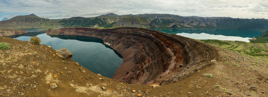 Lake in Caldera volcano Ksudach. South Kamchatka Nature Park.