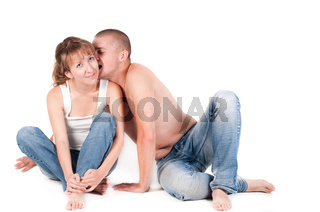 Man and woman isolated on white