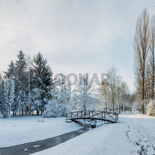 First snow in the city park  with a bridge on a sunny day