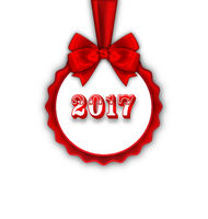 Happy New Year 2017 Card with Red Silk Ribbon and Bow