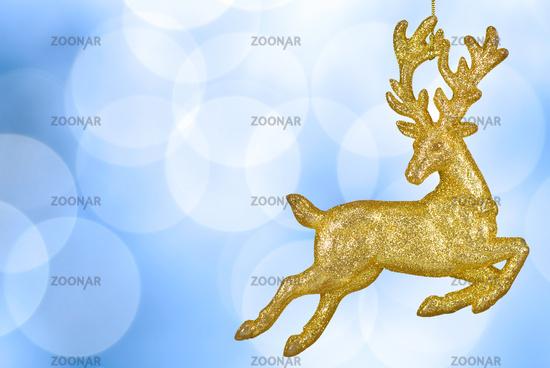 Weihnachtlicher Hintergrund mit goldenem Rentier