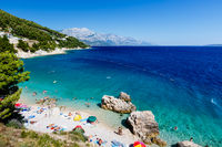 Beautiful Beach and Adriatic Sea with Transparent Blue Water near Split, Croatia