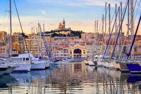 Yachts in the Old Port of Marseilles, France
