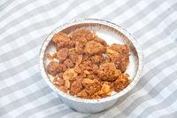 delicious panna cotta with lemon fruit crumble