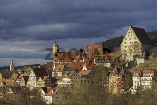 Blick auf Rathaus und Michaelskirche, Schwaebisch Hall