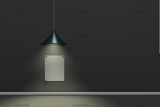 pinned note on wall is illuminated by a hanging lamp - 3d rendering