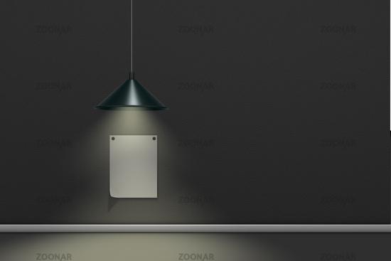 angepinnter Zettel an Wand wird beleuchtet von einer Hängelampe - 3d rendering