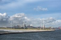 View of the harbor entrance at Ijmuiden, behind the steel factory Tata-Steel
