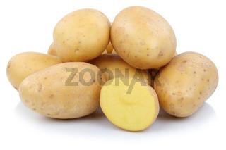 Kartoffeln geschnitten Gemüse Freisteller freigestellt isoliert