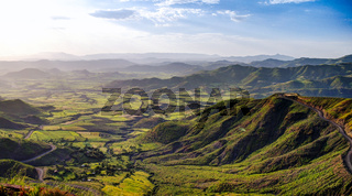 Panorama of Semien mountains and valley around Lalibela Ethiopia