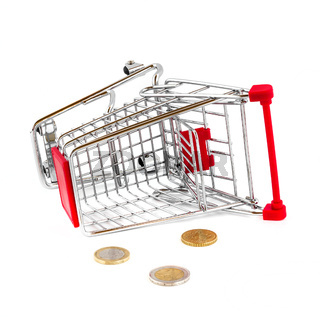Cart broken and money fallen out