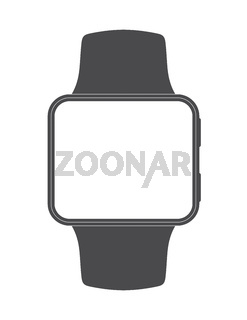 Black square-faced smartwatch with blank screen on white background