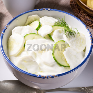 Mizeria is a Polish cucumber salad,