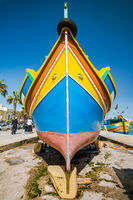 Traditional painted fisherman boat in Marsaxlokk village,Malta