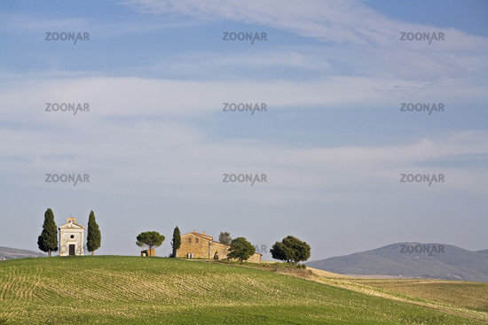 farm with small chapel in Crete, Tuscany, Italy