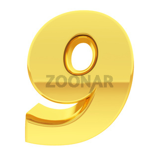 Gold number 9 with gradient reflections isolated on white. High resolution 3D image