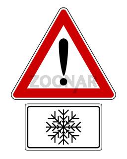 Warnschild mit Zusatzschild und Schneesymbol - Attention sign with snow symbol