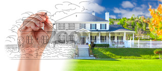 Hand Drawing Custom House Design With Gradation Revealing Photograph.