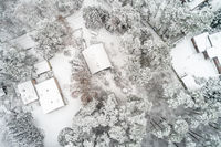 Aerial photo in a vertical perspective, winter landscape with single-family houses in the forest dur
