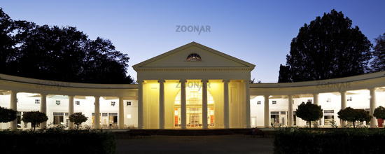 illuminated convertible hall in the spa park at blue hour, Bad Oeynhausen, Germany, Europe