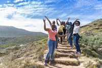 African tourist group of women at cape of good hope