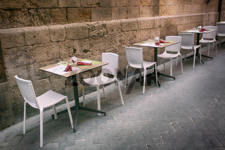 Outdoor restaurant in old european town