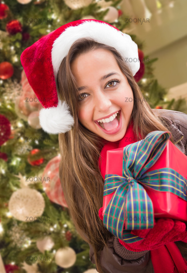 Girl Wearing A Christmas Santa Hat with Bow Wrapped Gift In Front of Decorated Tree