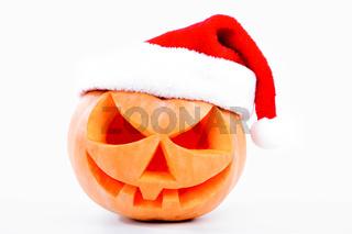 Halloween pumpkin shiny inside on white