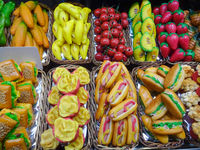 marzipan fake food market stall - food concept