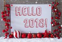 Label, Snowflakes, Christmas Balls, Text Hello 2018