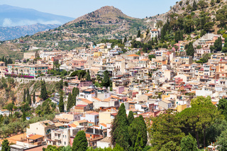 above view of Taormina city in summer day