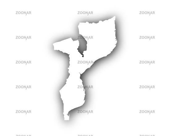 Mosambik Karte.Photo Karte Von Mosambik Mit Schatten Map Of Mozambique With