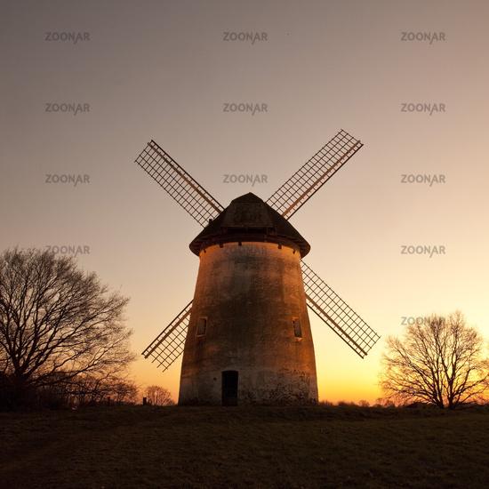 mill Egelsberg at sunset, Krefeld, Lower Rhine, North Rhine-Westphalia, Germany, Europe