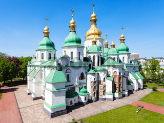 view of building of Saint Sophia Cathedral in Kiev