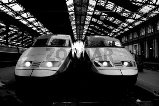 trains in a railway station
