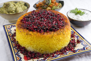 Traditional Rice Pie with Berberis and Curry as close-up on a table