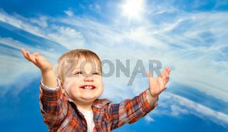 Adorable happy little boy