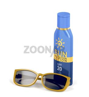Sunscreen lotion and female sunglasses