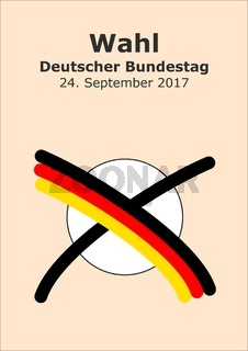 Bundestagswahl mit Kreuz in Deutschlandfarben