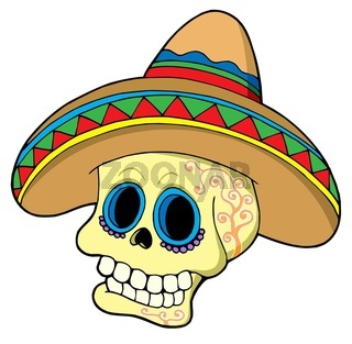 Mexican skull in sombrero - isolated illustration.