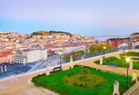 Lisbon skyline from famous viewpoint