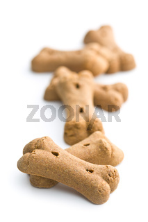 Dog food shaped like bones.