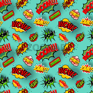 Seamless pattern with comic style phrases. Pop art style quotes.