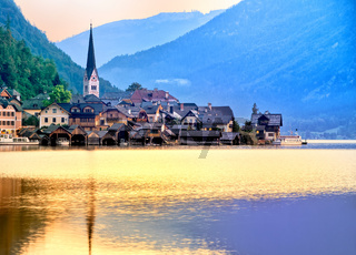 Hallstatt town on a lake in Alps mountains, Austria