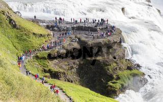 ICELAND - July 26, 2016: Icelandic Waterfall Gullfoss