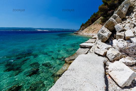 Wonderful Adriatic Sea with Deep Blue Water near Split, Croatia